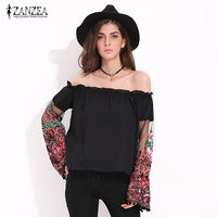 ZANZEA Women Sexy Slash Neck Ruffles Tassel Long Sleeve Blouse Shirt Fashion Floral Embroidery Sheer Sleeve