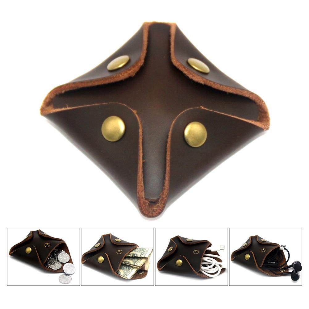 Men Buckle Vintage Durable Casual Pockets Portable Artificial Leather Coin Purse Fashion Gift Solid Mini Handbag