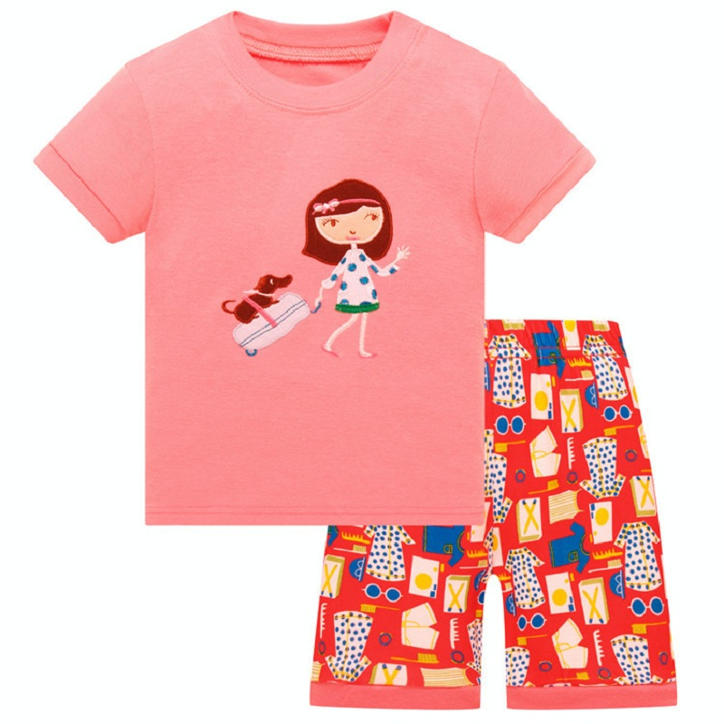 Girls Pajamas Sets 2-8years Girls' Clothes Suit Summer Short Sleeve T-Shirts Tops Short Pant Set 100% Cotton Sleepwear
