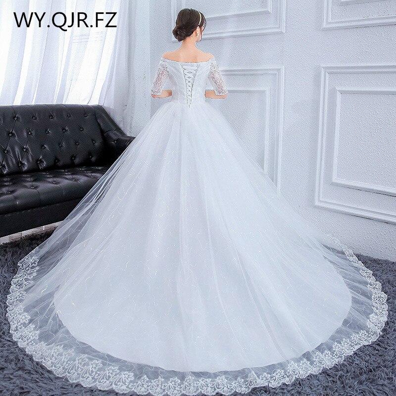 YC H79T Boat Neck Trailing lace up long wedding party dress plus size Bride Wedding Toast