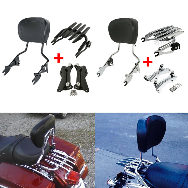 Motorcycle Backrest Sissy Bar Luggage Rack Docking For Harley Touring Road King Street Glide Electra Glide