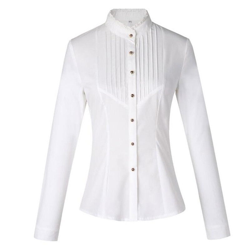 Image 5 - Spring Fashion women clothing long sleeve white blouses formal slim lace stand collar chiffon shirt office ladies plus size topsoffice ladyoffice lady fashionplus size tops -