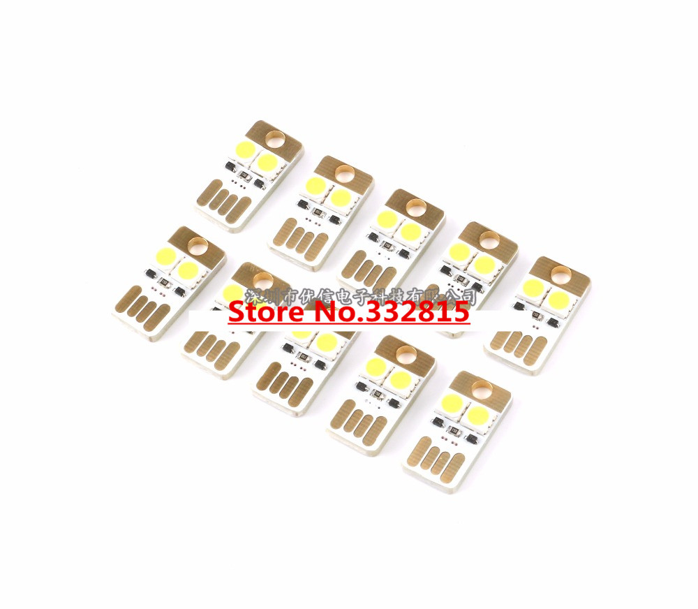 1PCS ultrathin MINI USB LED LAMP 2*5050 SMD LED 5600K WHITE 0.2W 5V power supply small night light camping lamps FREE SHIPPING