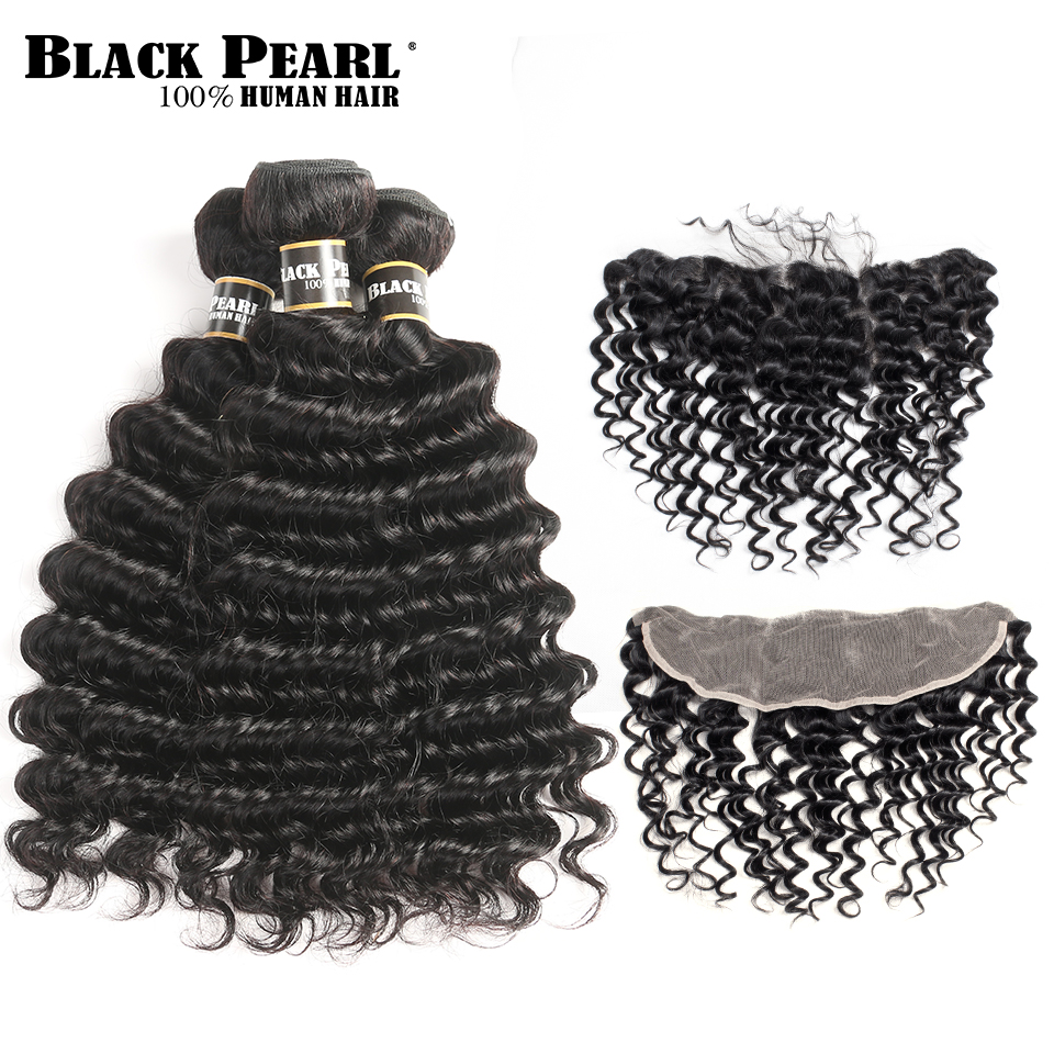 BlackPearl Pre Colored Brazilian Deep Wave Non Remy Human Hair 3 Bundles With 13x4 closure Lace