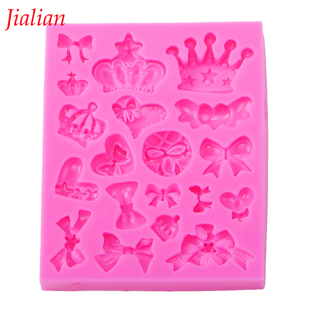 Many crown bowknot Shape 3D fondant cake silicone mold for polymer clay molds kitchen chocolate pastry candy making tools F-0226
