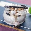 Bluestone Natural e Maneki Neko Cerâmica Pingente de Cristal Natural Pulseira Envoltório Cor Múltipla Encantador para Meninas Presente Amizade
