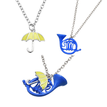 New How I Met Your Mother Blue French Horn Necklace Pendant with Silver Chain TV Jewelry
