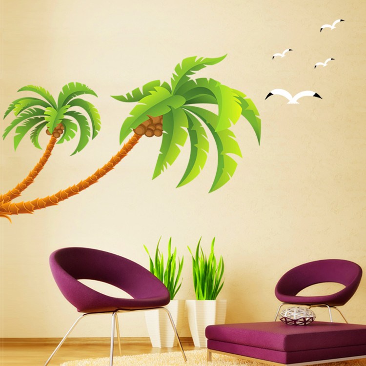 Green Coconut Tree Gulls Vinyl Wall Stickers Home Decor Rooms Living