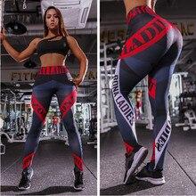 дешево!  Леггинсы с принтом для писем Женщины Slim Fitness с высокой талией Упругие леггинсы для тренировки ч