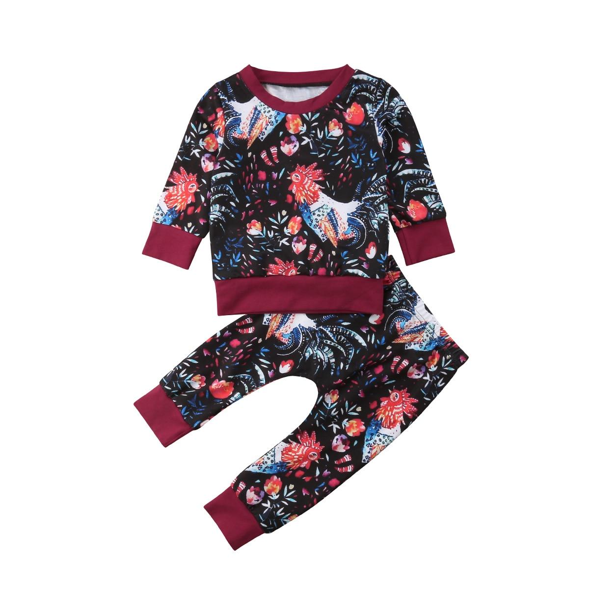 6c8f20e53ba9 Autumn winter spring 2PCS Kids Baby Girl clothes set print Floral Top T- shirt pullover