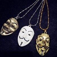 Grado superior Fresco de Oro O Plateado Bronce Antiguo V de Vendetta máscara Collar Llamativo Estilo Hip Hop Hombres Y Mujeres Collar Colgante