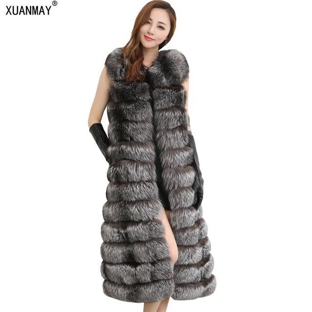 Осень и зима новые модели женщин x-длинный мех имитация жилет Моды высокого класса Толстые теплые Высокая имитация меха лисы пальто
