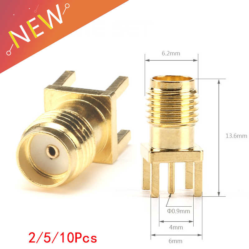 SMA clavija soldadura hembra tuerca borde PCB Clip montaje recto chapado en oro RF conector soldadura de receptáculo 2/5/10 Uds