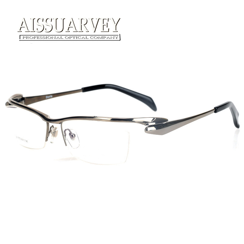 49a88e67b7a5c Fashion Pure Titanium Eyeglasses Frames Men Optical Half Rim Eyewear  Prescription Top Quality Reading Computer Goggles Unique