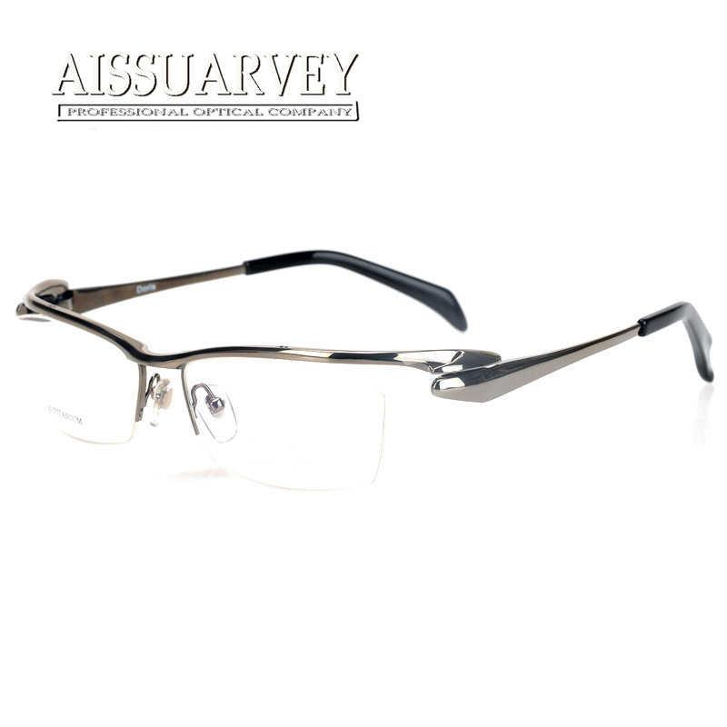 ea9ea4f100a6 Detail Feedback Questions about Fashion Pure Titanium Eyeglasses Frames Men  Optical Half Rim Eyewear Prescription Top Quality Reading Computer Goggles  ...