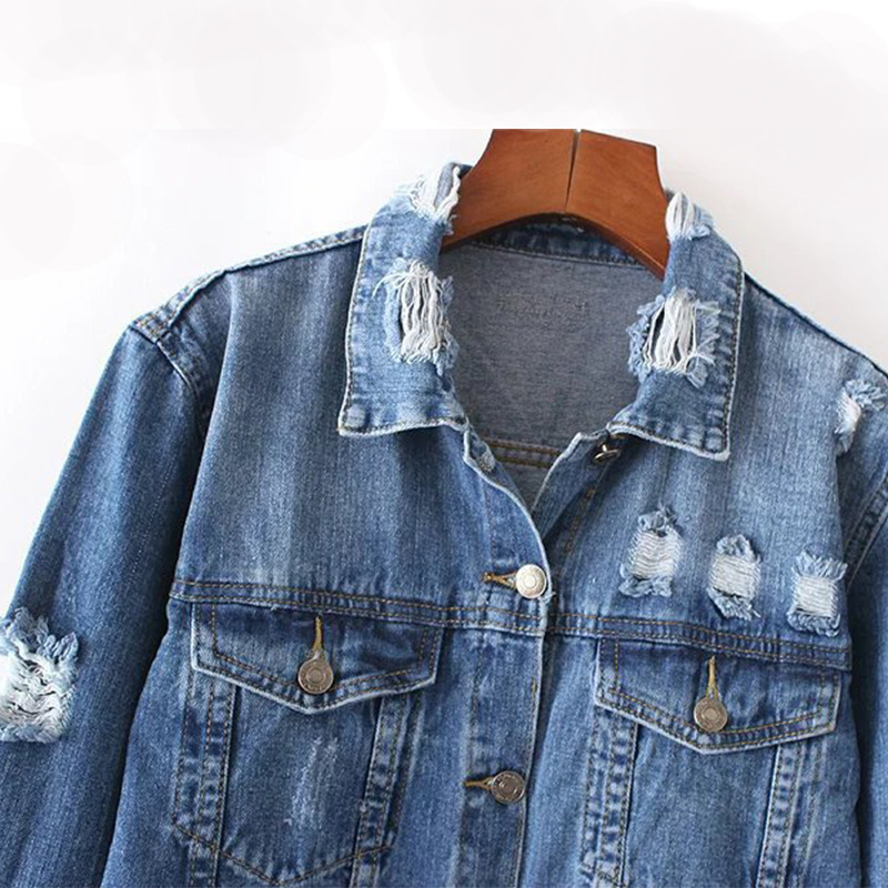 Blue Slim Basic Holes Casacos Women Denim Jeans Femme Feminino Coat Elegant Jacket Vintage Bomber Ripped xqY6ZI