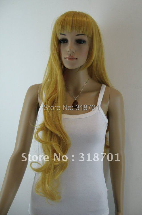 (Free Shipping).Exquisite Orange yellow Extra Long wavy Cosplay women Wig . cosplay wig