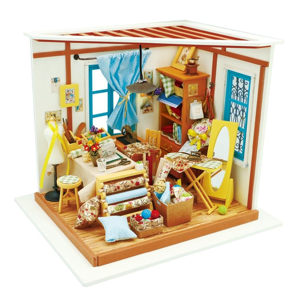Robotime DIY Doll House Lisa's Tailor Children Adult Miniature Wooden Dollhouse Model Building Kits Educational Toys DG101