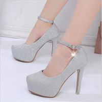 2018 phụ nữ cao gót prom giày cưới lady nền tảng tinh bạc Long Lanh rhinestone giày cô dâu bên gót chân mỏng bơm