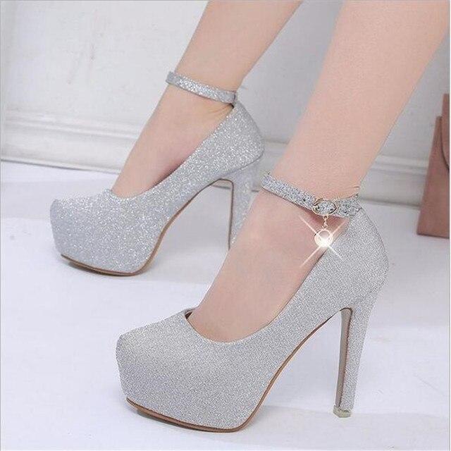 2018 женские на высоком каблуке для выпускного свадебные туфли леди на  прозрачной платформе Серебристые блестящие свадебные 47f1e4b7b1fe1