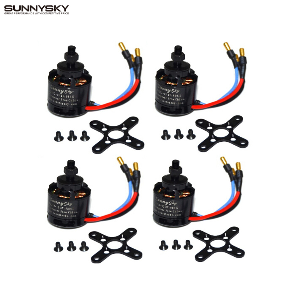4pcs/lot 100% Original Sunnysky X2212 980KV KV1400/1250/2450 180W Brushless Motor For Multirotor Quadcopter Hexa Octa Wholesale стоимость