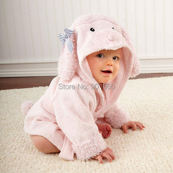 Online Shop Pink Poodle Baby Boy Girl Dressing Gown Splash Wrap Bath