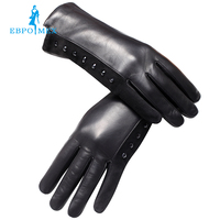 Special Promotions Fashion Female Gloves Genuine Leather Length 25 Cm Black Leather Gloves Ladies Gloves Winter