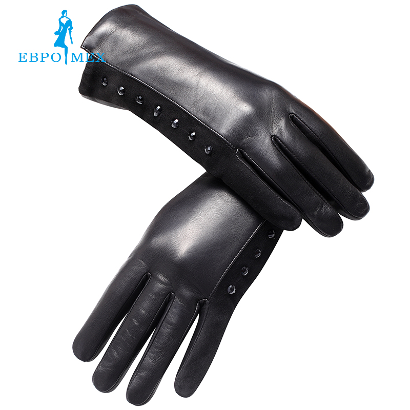 Genuine Leather <font><b>glove</b></font> Top Grade <font><b>gloves</b></font> female Fashion leather <font><b>gloves</b></font> Vintage winter <font><b>gloves</b></font> women black Diamond design