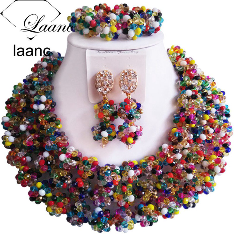 Brand Laanc Nigerian Wedding Beads African Jewelry Set Crystal Ball Beaded Multicolour Big Necklaces AL323Brand Laanc Nigerian Wedding Beads African Jewelry Set Crystal Ball Beaded Multicolour Big Necklaces AL323