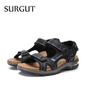 Image 5 - SURGUT แบรนด์ขายร้อนแฟชั่นฤดูร้อนรองเท้าแตะชายหาดรองเท้าผู้ชาย Hollow คุณภาพสูงรองเท้าแตะหนังแท้รองเท้าแตะ
