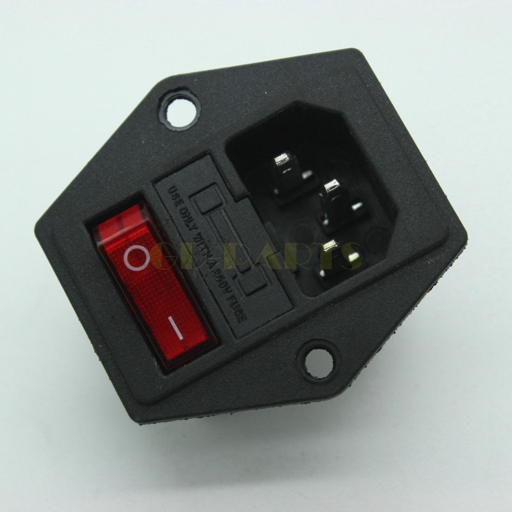 Light Switch Fuse Promotion-Shop for Promotional Light Switch Fuse ...:1PC ICE320 C14 Power Socket Inlet Wth Fuse Holder&Red Light On-Off Rocker  Switch,Lighting