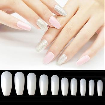 600pcsbag Long Ballerina Full Cover Nail Tips NatureWhite Coffin False Nails Acrylic Manicure False Fake UV Gel Nail Art Tips Маникюр