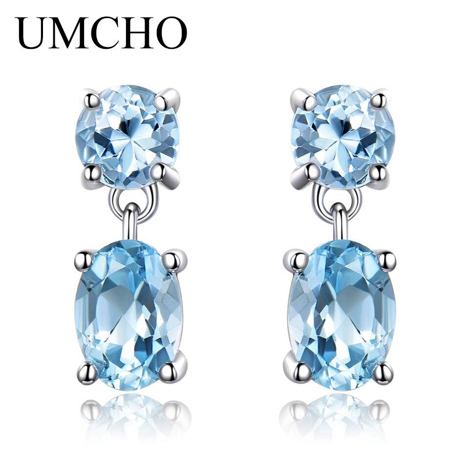 UMCHO 100% Natural Sky Blue Topaz Gemstone Drop Earrings 925 Sterling Silver Korean Gemstone Earrings For Women Fine Jewelry