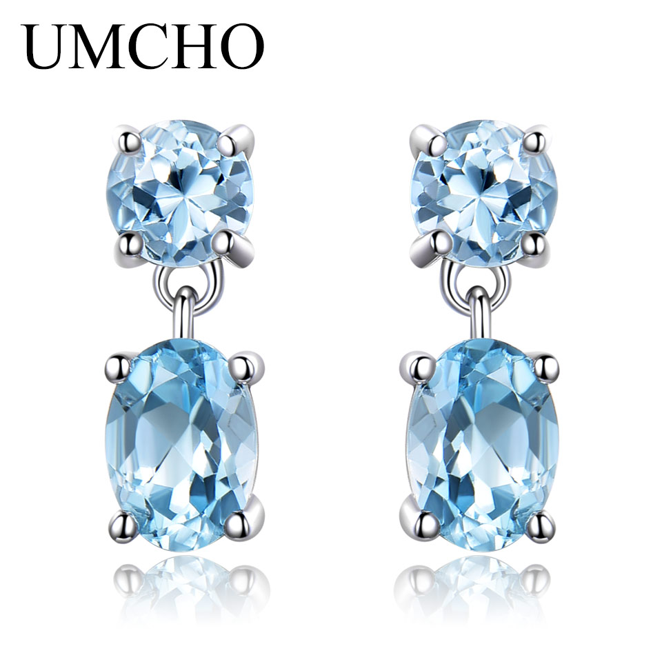 UMCHO Pure925 Sterling Silver Drop Earrings For Women Oval Faceted Sky Blue Topaz Gemstone Earrings Christmas Gift Fine Jewelry