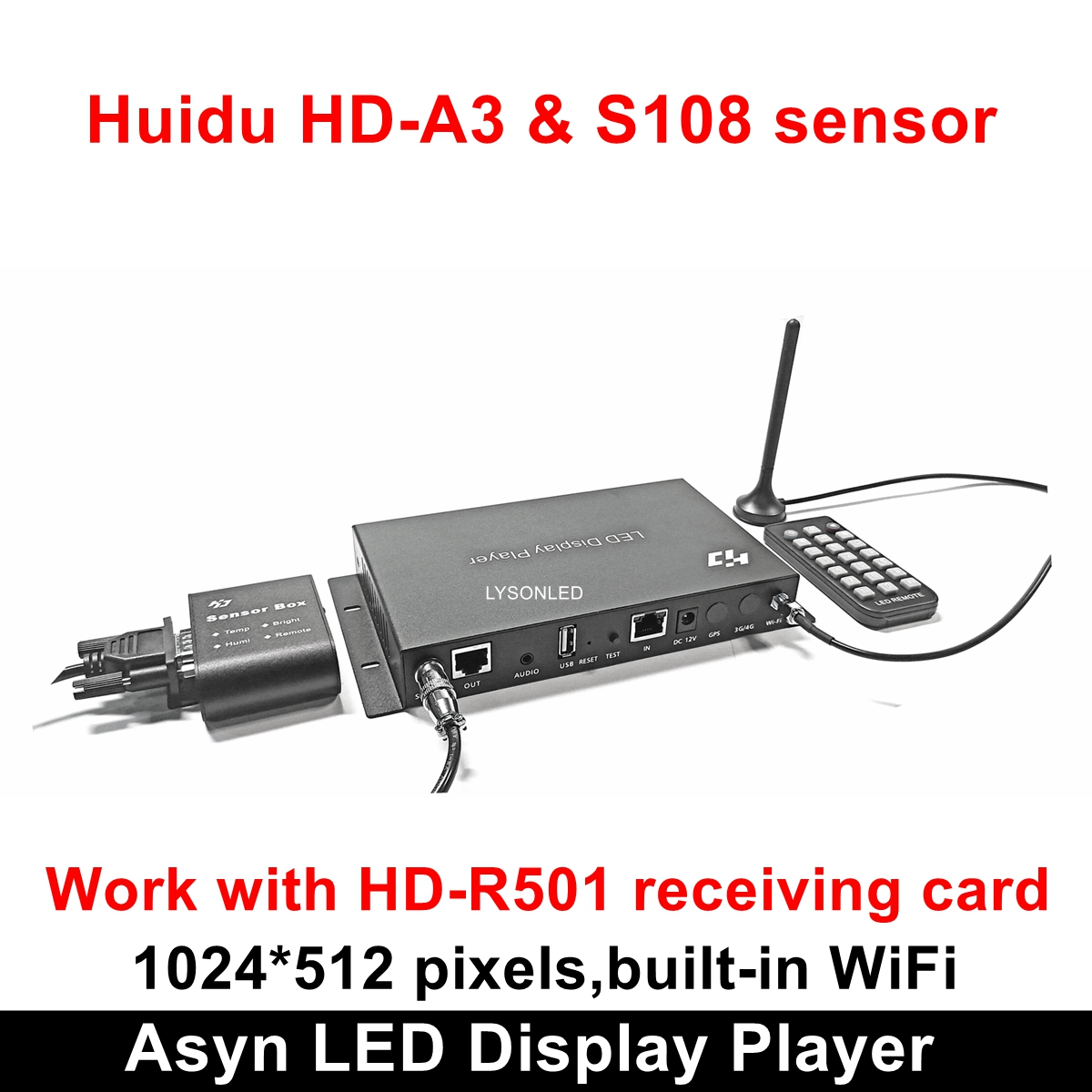 Huidu HD-A3 With Built-in WiFi Asynchronization Full Color LED Video Card,  Wifi RGB LED Controller Card With S108 Sensor Box