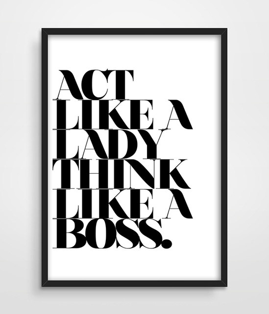 Act Like A Lady Think Like A Boss, Typographic Print, Typographic Poster, Typographic Art, Gift for Girls, Bedroom Art ,painting