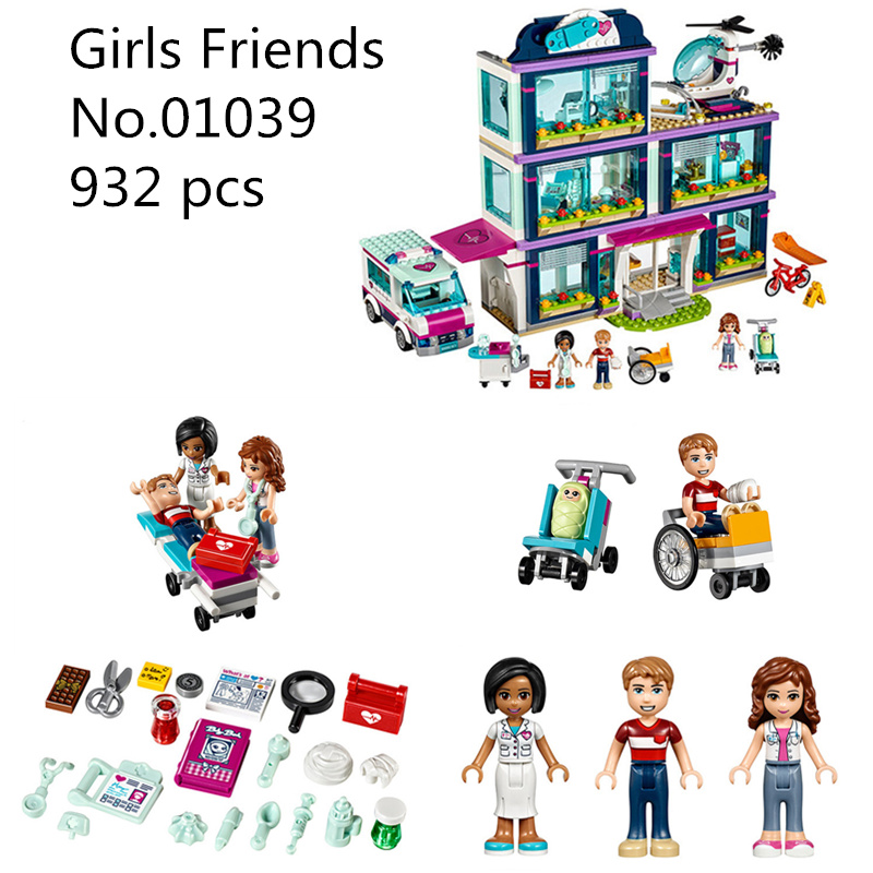 CX 01039 932 pcs Model building kits Compatible with Lego 41318 Friends Heartlake Hospital Ambulance Block Set Olivia Girls Toy 10556 heartlake friends space ship amusement park model building kits block girls toys compatible legoes friends gift kid set