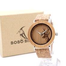 2017 BOBO BIRD Luxury Watch Men Famous Brand Wooden Watches Genuine Leather Band Wristwatch relogio masculino