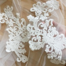 6 pieces / lot Exquisite floral embroidery lace applique pair in off white for wedding gown bodice, veil, bridal dress