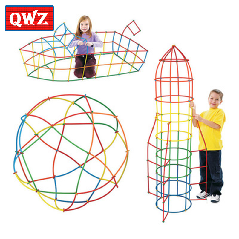 QWZ Baby Puzzle Prajita 100pcs/200pcs Children's Puzzle Straw Blockds Pipette Stitching Assembly Straw Build Blockd Creative Toy