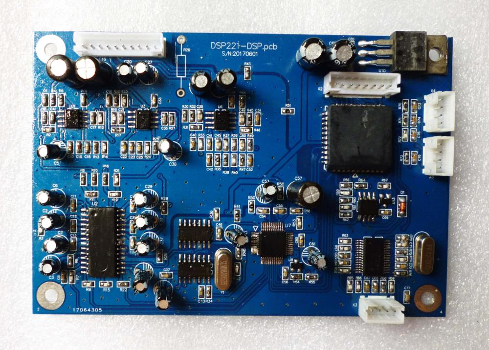 DSP board two into two out digital audio processor board digital frequency divider board digital audio frequency divider module adjustable bass treble two divider hifi module game pwm modulation digital amplifier for speaker audio crossover repair parts