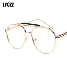 5a313ca93b LYCZZ redonda de Metal grande gafas marco decorativo vintage espectáculo  marcos ultraligero claro óptico lente Retro gafas de la.