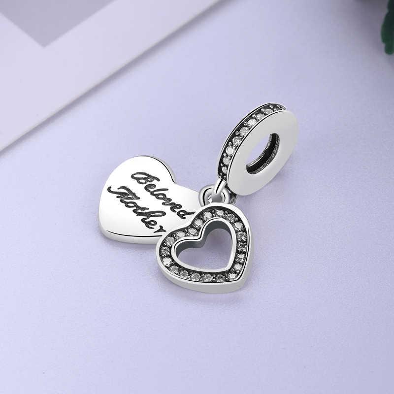 925 пробы серебряные амулеты подходят Пандора браслет кристалл сердце любимой матери бусины Diy женское ожерелье кулон Ювелирное Украшение