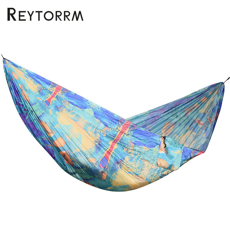 2018 New Outdoor Hammock Nylon Fabric Durable Tree Bed For Camping Sleeping For Adult Travel Backpacking Hanging Swing Hamac