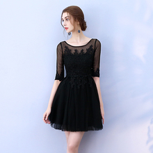 Back of Zipper Black Colour Mini Dress Wedding Party for Women  Sexy Bridesmaid