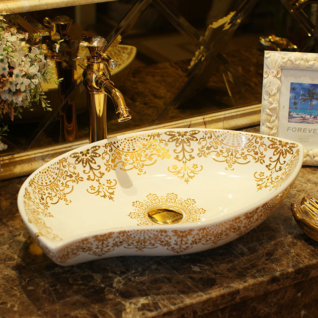 oval bathroom counter top wash basin cloakroom hand painted vessel