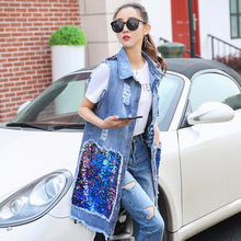Women Vest Sleeveless Autumn Sequined Denim Long Jacket Plus Size Coats Vests And Waistcoats