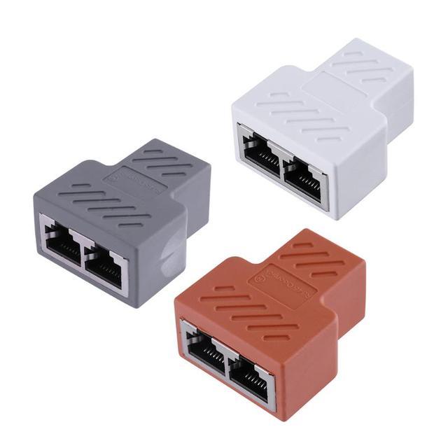 RJ45 Splitter Adapter 1 to 2 Dual LAN Ethernet Socket Network Connections Splitter Adapter for PCB Board Welding White Orange