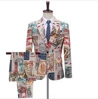 Personality trend men's printing suit Europe and the United States fashion nightclub bar men singer stage suit sets ! S 5XL