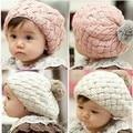 2013 new children's skullies beanies wool cotton knitting girls cap korea design children 1-6 years old adjustable